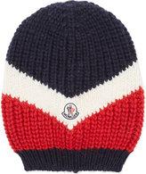 Moncler Flag Chunky Knit Oversized White & Blue Beanie Hat