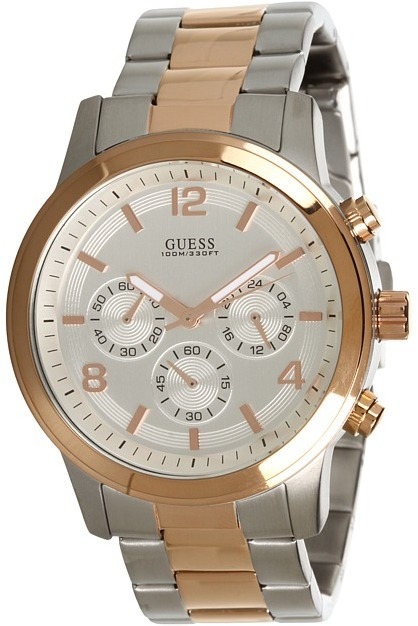 GUESS U0123G1 Rose Gold-Tone Chronograph Watch (Silver/Rose Gold) - Jewelry