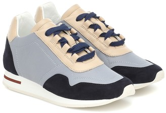 Loro Piana Kids My Wind suede-trimmed sneakers