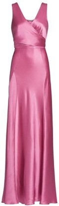Alberta Ferretti Sleeveless Satin Wrap Gown