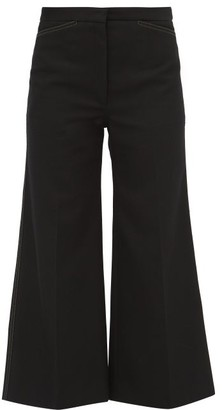 Lemaire Contrast-stitching Cropped Twill Trousers - Womens - Black