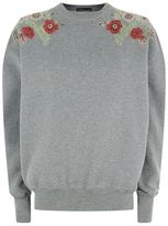 Alexander McQueen Crystal Poppy Embellished Sweatshirt