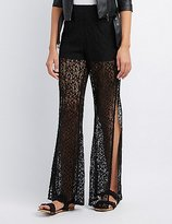Charlotte Russe Shadow Lace Wide-Leg Pants