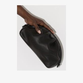 Alaia Black Laser Cut Leather Clutch Bag