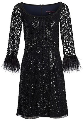 Joanna Mastroianni Feathered A-Line Cocktail Dress