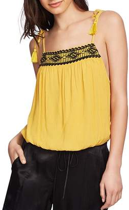 1 STATE 1.STATE Embroidered Tie-Shoulder Top