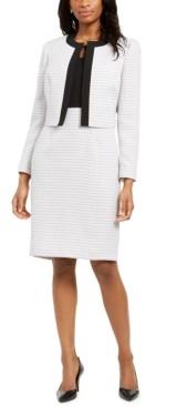 Le Suit Tweed Contrast-Trim Dress Suit