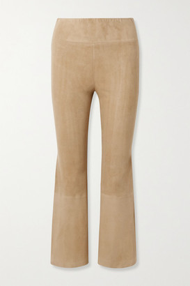 Sprwmn Cropped Suede Flared Pants - Sand