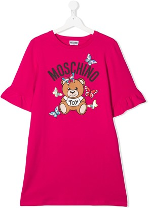 MOSCHINO BAMBINO TEEN logo print T-shirt dress