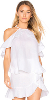Karina Grimaldi Rocha Linen Top in White. - size M (also in S,XS)