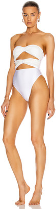 Adriana Degreas Sequin High Leg Swimsuit in White | FWRD