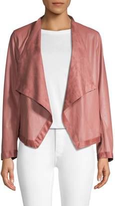 BB Dakota Draped-Front Faux Leather Blazer