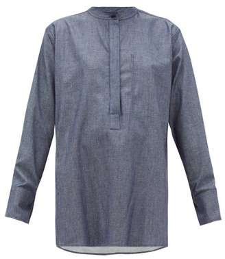 Joseph Henry Dropped Shoulder Chambray Blouse - Womens - Dark Blue