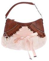 Christian Dior Python-Trimmed Ballet Bag