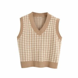 Layan B Women's Knitted Vest Sweater Oversized Houndstooth V Neck Loose Sleeveless Sweater Waistcoat Chic Tops (Khaki M)