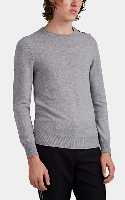 Givenchy Men's Button-Detailed Cashmere Sweater - Gray