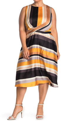 London Times Striped Sleeveless Tie Waist Fit & Flare Dress