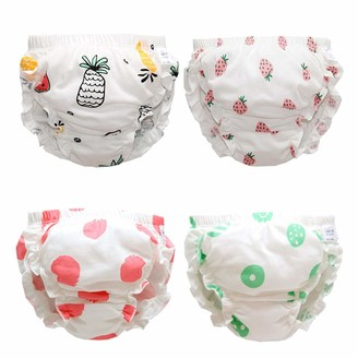 Premewish 4 Pack Baby Girls Underwear Kids Cotton Knickers Briefs Toddlers Summer Bloomers Training Pants Solid Color Diaper Cover for Infant Toddler 12-18 Months and 2-6 Years Old