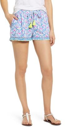 Vineyard Vines Floral Flamingos Embroidered Linen Shorts