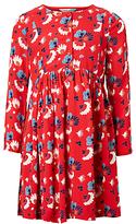 John Lewis Girls' Floral Woven Dress, Tomato Puree