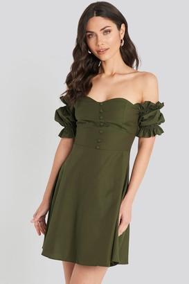 Trendyol Off Shoulder Button Detailed Mini Dress