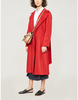 Max Mara Ladies Red Textured Elegant Manuela Camel Hair Coat