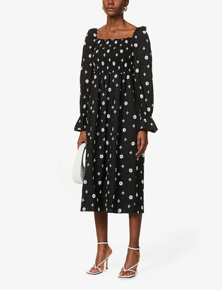 NEVER FULLY DRESSED Stitch cross cotton midi dress