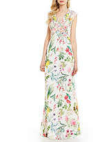 Tadashi Shoji V-Neck Cap Sleeve V-Back Floral Chiffon Gown