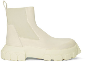Rick Owens White Bozo Tractor Beetle Chelsea Boots