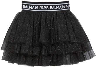 Balmain Girl's Glitter Layered Tulle Skirt, Size 4-10