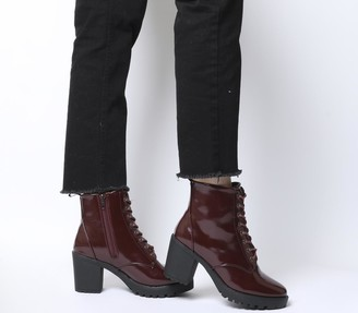 Office Absolutely Lace Up Cleated Boots Burgundy Box