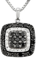 FINE JEWELRY 1 CT. T.W. White and Color-Enhanced Black Diamond Sterling Silver Square Pendant Necklace