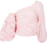 Johanna Ortiz - One-shoulder Striped Cotton-blend Poplin Wrap Top - Pink