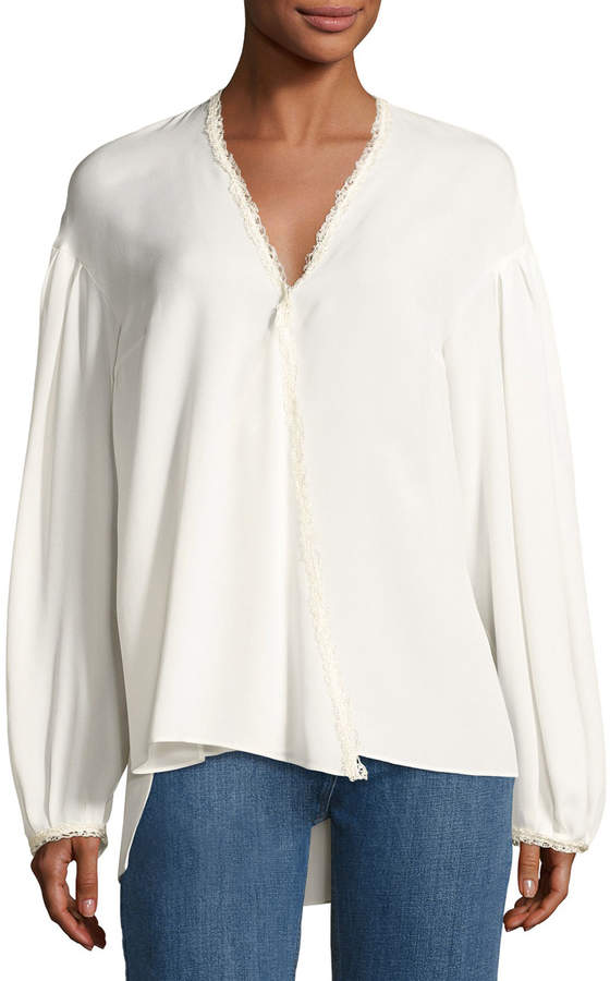 Magda Butrym Brest Silk Lace-Trim Blouse, Cream