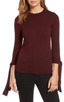 Halogen Petite Women's Tie Sleeve Crewneck Sweater