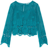 Miguelina Alicia Cropped Crocheted Cotton Top - Turquoise