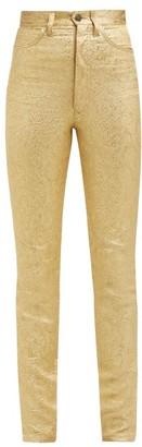 Maison Margiela Metallic Floral-brocade Cotton-blend Trousers - Womens - Gold