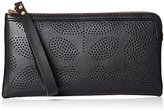 Orla Kiely Womens Punched Leather Flat Zip Purse Wallet Black