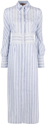Ermanno Scervino Stripe-Print Embroidered Dress