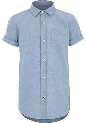 River Island Boys blue short sleeve shirt
