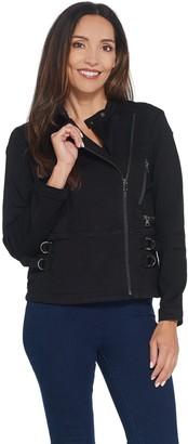 Laurie Felt Silky Denim Motorcycle Zip Front Jacket