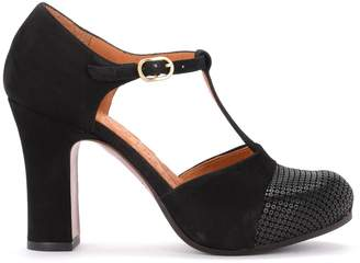 Chie Mihara Heeled Shoe In Black Suede With Micropaillettes Pattern