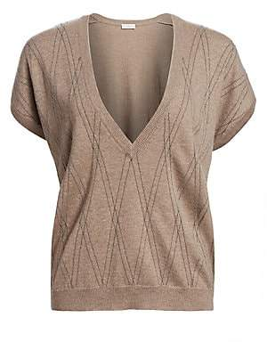 Brunello Cucinelli Women's Deep V-Neck Cashmere Short-Sleeve Pullover Top