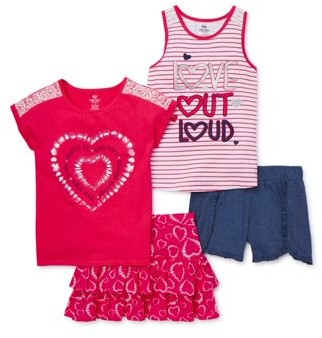 Pink Velvet Girls Short Sleeve Fashion Tops, Short and Skirt, 4-Piece Outfit Set, Sizes 4-12