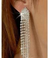 Roger Enterprises Clip on Rhinestone Dangle Earrings High Drama Best 5 Strand Multi Row Movie Star Glamour