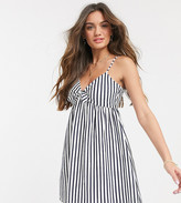 Asos DESIGN Petite cami bow front mini sundress in navy and white stripe