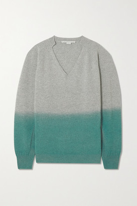 Stella McCartney Oversized Ombre Cashmere And Wool-blend Sweater - Mint