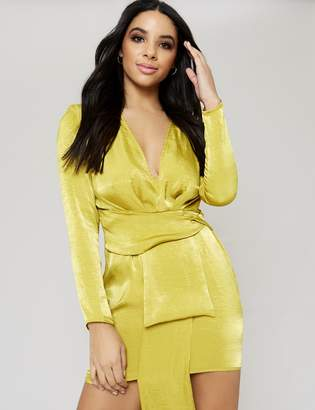 Public Desire Chartreuse Drape Satin Plunge Mini Dress