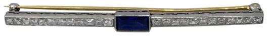 Tiffany & Co. Bar Diamond Sapphire Platinum Pin