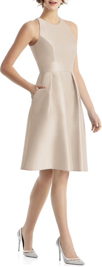 Alfred Sung Jewel Neck Satin Cocktail Dress